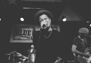 Larry g(EE) at Blue Light in Lubbock, Texas on Saturday, February 07. Photograph by Susan Marinello/New Slang.